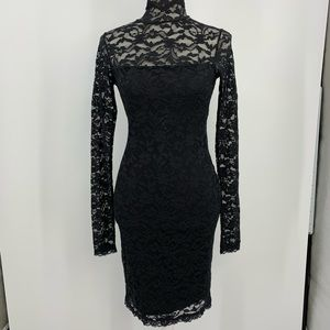 Sexy lace black dress high neck size extra small